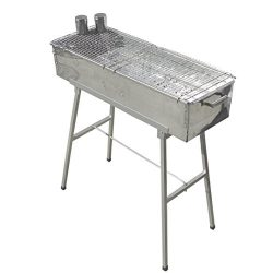 Party Griller 32″ x 11″ Stainless Steel Charcoal Barbecue Grill w/ 2x Stainless Stee ...