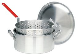 Bayou Classic 14 Quart Aluminum Fry Pot, Lid, and Basket with Cool Touch Handle
