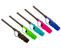 5 Pack Refillable Multi Utility Lighter Assorted Colors BBQ Lighter firestarter for Kitchen Camp ...