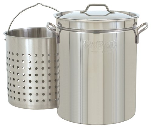 Bayou Classic 1160 62-Quart All Purpose Stainless Steel Stockpot with Steam and Boil Basket