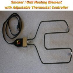 Universal Replacement Electric Smoker and Grill Heating Element with Adjustable Thermostat Contr ...