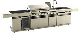 Modular 3 Piece Island Electric and Gas BBQ Outdoor Grill Kitchen, with Wine Refrigerator, Sink, ...
