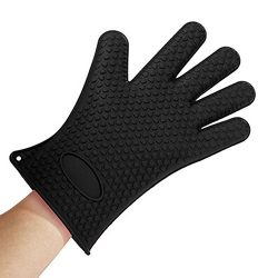 GF Pro Silicone Heat Resistant Multi-Purpose Grilling Bbq Gloves for Cooking, Baking (GFPSG-BK)