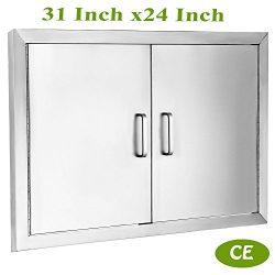 Mophorn Double Wall BBQ Access Door Cutout 31″Width x 24″Height BBQ Island Door w/ B ...