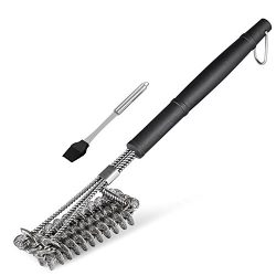 "BBQ Grill Brush Safe and Effective Bristle Free Barbebue Grill Cleaning 18"" Brush Stainless Stee ..."