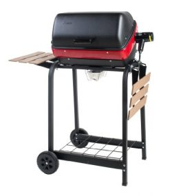 Easy Street Electric Cart Grill with two folding, composite-wood side tables and wire shelf