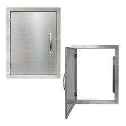 Houseables BBQ Access Door, Stainless Steel, Vertical, Single, 17 x 24 Inch, Commercial Grade, ½ ...