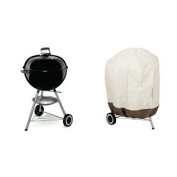 Weber 741001 Original Kettle 22-Inch Charcoal Grill & AmazonBasics Kettle Grill Cover