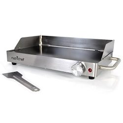 NutriChef Electric Griddle – Portable Stainless Steel Ceramic Glass Cooktop Grill with Non ...
