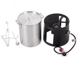 Portable Propane Cooker with 30-Quart Outdoor Turkey Fryer Kit Aluminum Pot Best Massage