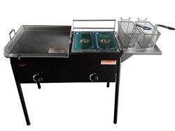 Bioexcel Outdoor two tank fryer with Propane Gas Dual Burner with 2 Baskets & Stainless Stee ...