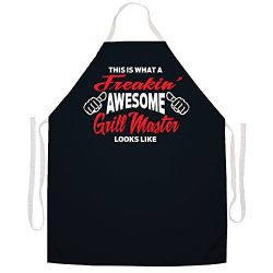 "Attitude Aprons Fully Adjustable ""Freakin' Awesome Grill"" Apron-Black"