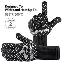 simdevanma Heat Resistant Cooking Gloves-BBQ Grilling-Oven-Big Green Egg- Fireplace Accessories  ...