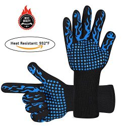 Awekris BBQ Grilling Cooking Gloves, 932℉ Extreme Heat Resistant Gloves, Grill Oven Safety Mitts ...