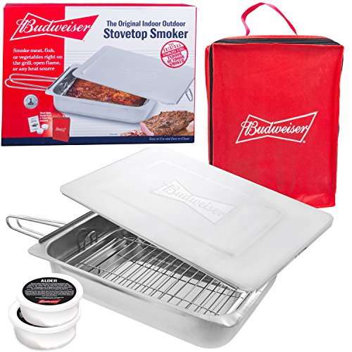 Budweiser Stovetop Smoker – The Original Stainless Steel Smoker with Wood Chips – Wo ...