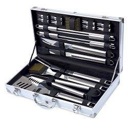 Barbestar 19-Piece BBQ Grill Tool Set, Stainless Steel Utensils with Aluminum Storage Case, Comp ...