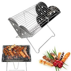 Portable Camping Grill-Glamouric Charcoal BBQ Grill Portable Mini 13.6 Inch Stainless Steel Fold ...