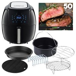 GoWISE USA 5.8-Quarts 8-in-1 Air Fryer XL with 6-piece Accessory Set + 50 Recipes for your Air F ...