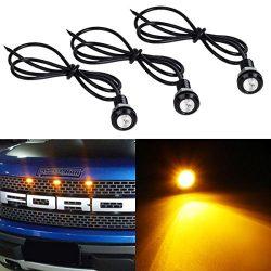 Partsam 3PCS 3000K Amber Yellow LED Lamps Eagle Eye Lights for Ford F150 Raptor SVT Style Front  ...