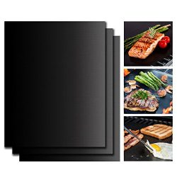 Grill Mat 100% Non-stick and Reusable Heavy Duty Mat Used on Charcoal Gas Electric Grill Oven an ...