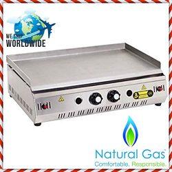 "28 "" ( 70 cm ) NATURAL GAS Commercial Kitchen Equipment Countertop Flat Top Grill Restaura ..."