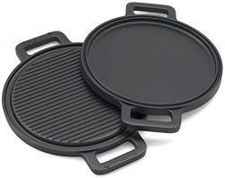 EurKitchen Pre-Seasoned Two-Sided Cast Iron Pizza Stone, Griddle and Grill Pan w/ Reinforced Han ...