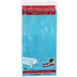 Party Dimensions Single Count Rectangular Plastic Tablecover, 54 by 108-Inch, Island Blue