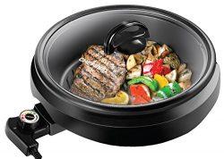 CHEFMAN 3-IN-1 Versatile Indoor Grill Pot & Skillet – Slow Cook, Steam, Simmer, Stir F ...