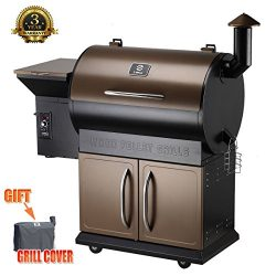 Z Grills Wood Pellet Grill & Smoker with Patio Cover,700 Cooking Area 7 in 1- Grill, Smoke,  ...