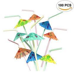 100PCS Mseeur Multicolored Hawaiian Umbrella Parasol Disposable Bendable Drinking Cocktail Straw ...