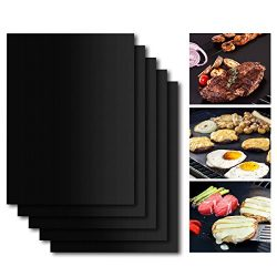 BBQ Grill Mat Set of 5, Non-Stick BBQ Grill & Baking Mats, SHINE HAI PFOA Free, Reusable and ...