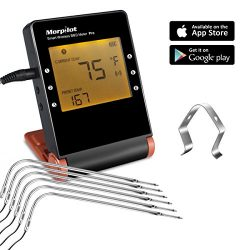 Wireless Meat Thermometers for Grill Smoker, Morpilot Bluetooth BBQ Grill Thermometer Smart Remo ...