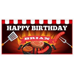 Charcoal Grill Birthday Banner Personalized Party Backdrop