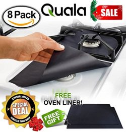 QUALA Gas Range Protectors 8 Pack + FREE OVEN LINER ! – Stove Protector, Burner Cover, Coo ...