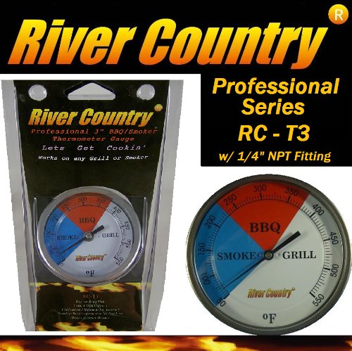 3″ River Country (RC-T3) Easy Mount Adjustable BBQ, Grill, Smoker Thermometer (100 to 550 F)