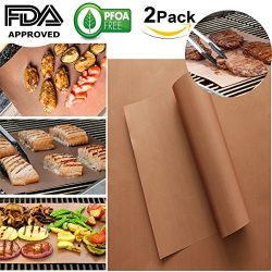 PFOA FREE 0.2MM DOUBLE THICKER Golden Grill BBQ Mat Set of 2 100% Non-stick BBQ Grill and Baking ...
