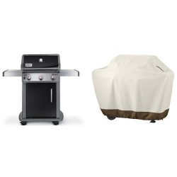 Weber 47510001 Spirit E310 Natural Gas Grill, Black & AmazonBasics Grill Cover – Medium
