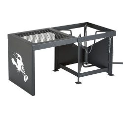 Outdoor Gourmet Double-Burner Propane Fryer and Boiler with Side Table