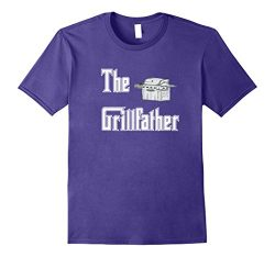 Mens The Grillfather with Propane Grill BBQ T-shirt 3XL Purple