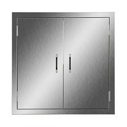 CO-Z Stainless Steel BBQ Access Door, 24″ x 24″ 304 SS Double Doors for Commercial B ...