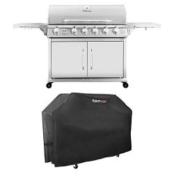 Royal Gourmet Pre-assembled Stainless Steel 6-Burner Propane Gas Grill with Infrared Burner + Cover