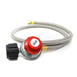 Gas One 4FT High Pressure Propane 0-20 PSI Adjustable Regulator with 4ft QCC-1 type Hose – ...