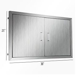 Happybuy BBQ island Door 36 Inch Flush Mount BBQ Access Door Commercial 304 Brushed Stainless St ...