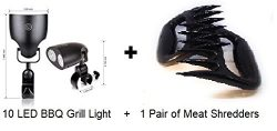 AA BBQ Lights for Grills, 10 Led BBQ Light, Outdoor BBQ Light + Plus 1 pair Meat Puller Claws