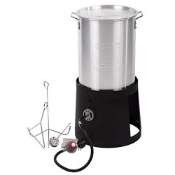 BestMassage Turkey Fryer Kit Portable Propane Cooker with 30-Quart Outdoor Gas Stove Aluminum Po ...