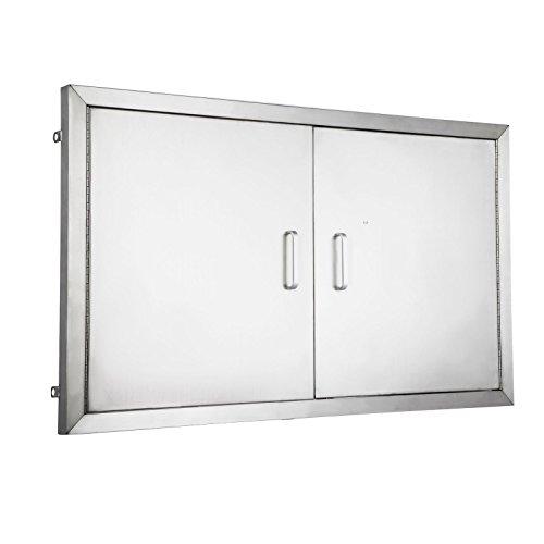 Mophorn 36 Inch Double Stainless Door Flush Mount BBQ Island Double Walled Door Commercial 304 B ...