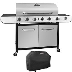 Royal Gourmet Classic Stainless Steel 6-Burner Cabinet Gas Grill with Side Sear Burner(Grill +  ...