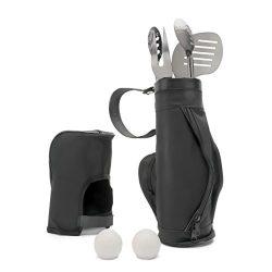 Monbix GF-70706 BBQ Grill Accessories, 6 Piece, Golf-Club Style, Stainless Steel Utensils with T ...