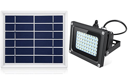 Solar Outdoor Flood Light,HiJi 54Leds 400Lumen IP65 Waterproof Outdoor Flood Light Fixture for D ...