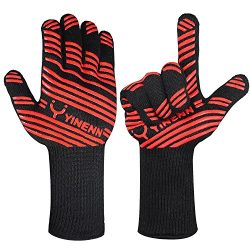 YINENN Heat Resistant Oven Mitts Cooking Gloves-BBQ Grilling Big Green Egg- Fireplace Accessorie ...